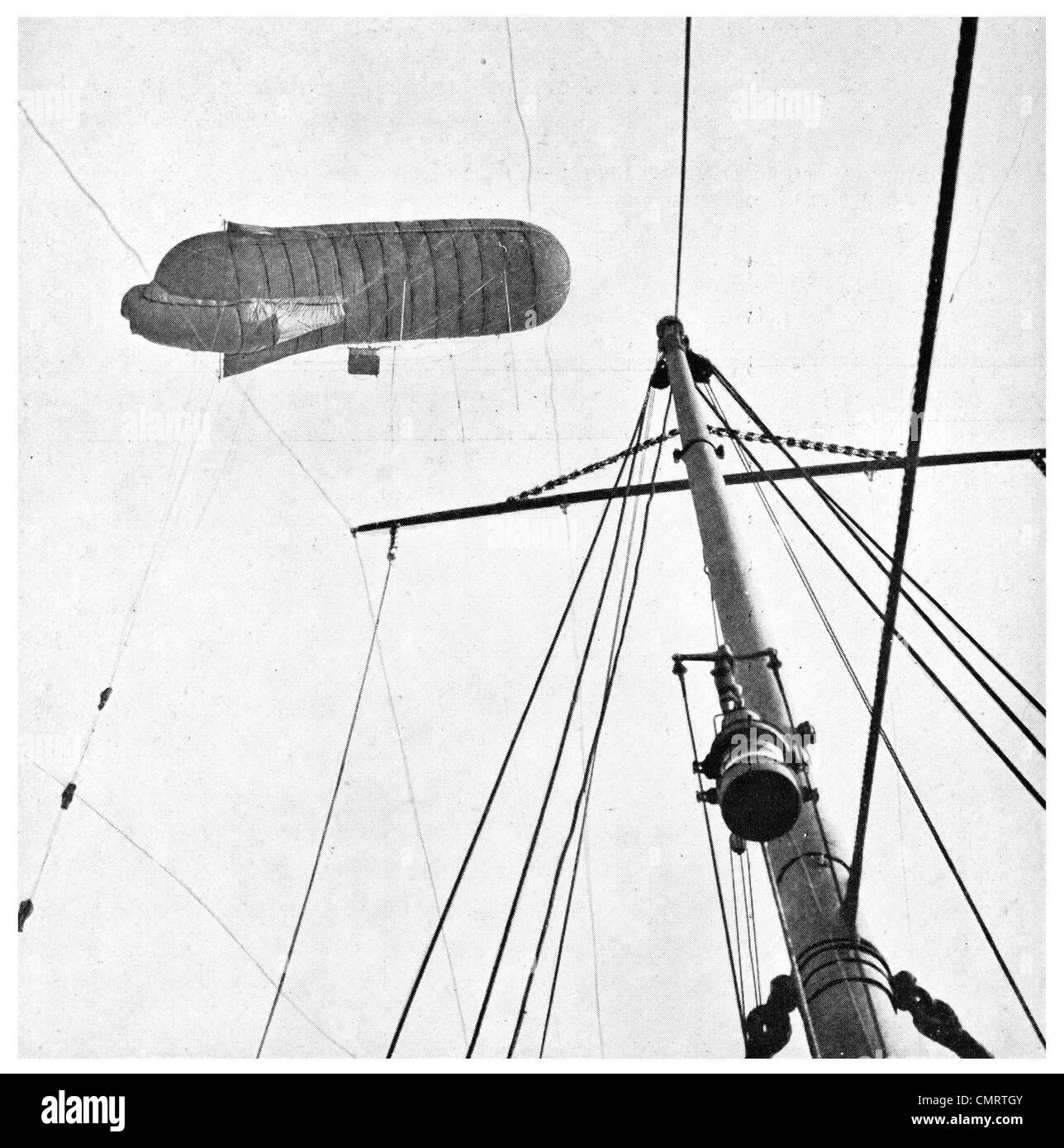 1918 French observation balloon lookout blimp aiship reconisance - Stock Image