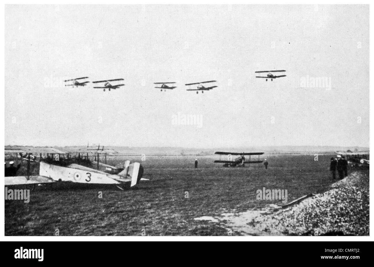 1918 Camel Plane RAF over British Aerodrome Royal Air Force Corps Service - Stock Image