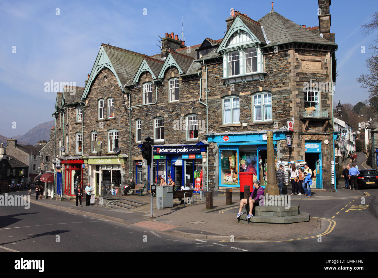 Post office and tourist information centre Central Buildings Ambleside Cumbria England UK - Stock Image