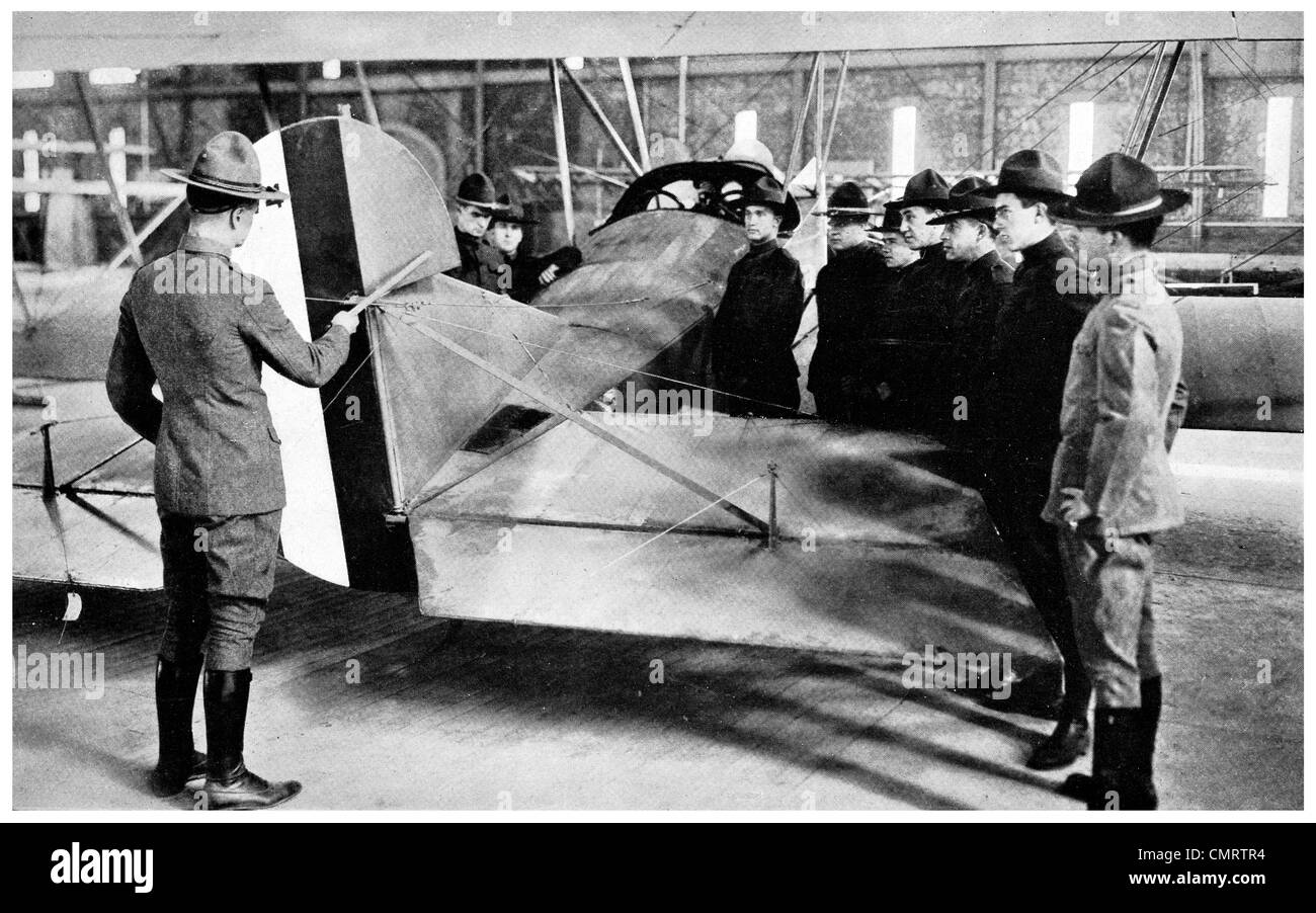 1918 airplane American Flying School pilot plane student instructor teacher - Stock Image