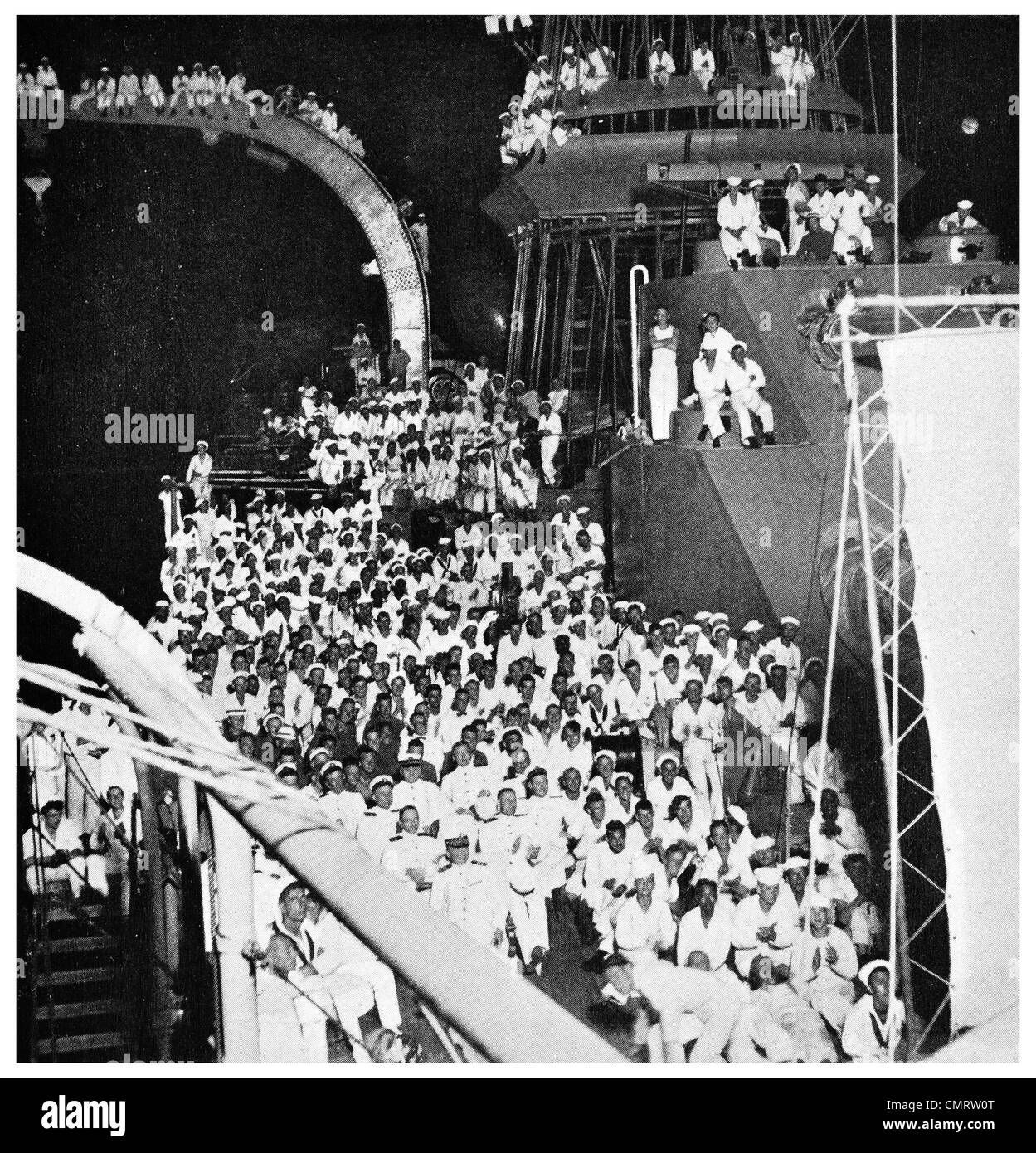 1918 Movie film night on a batteship motion picture screen warship - Stock Image