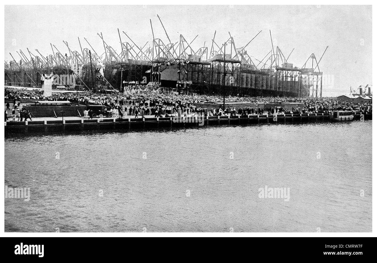 1918 Hog Island The 'Quistconck' launch concrete ships Philadelphia, Pennsylvania, - Stock Image