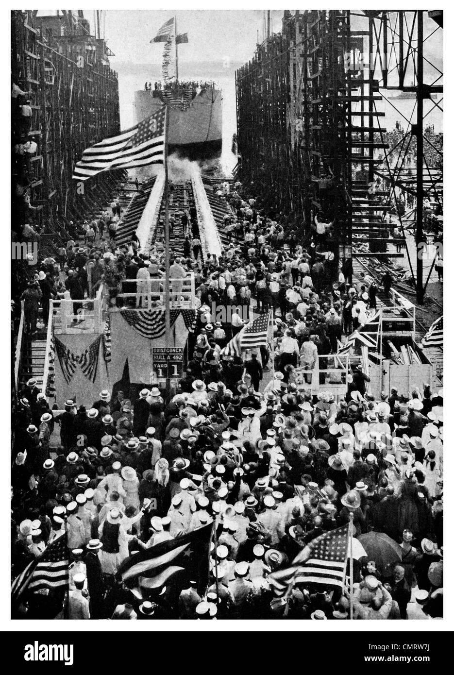 1918 Hog Island The 'Quistconck' launch  Philadelphia, Pennsylvania, - Stock Image