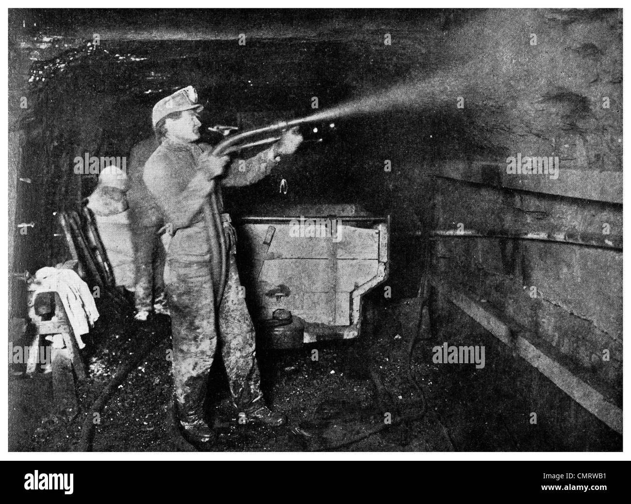 1918 coal mine lining wall with concrete miner Cork and Bottle Mine Scranton Pennsylvania - Stock Image