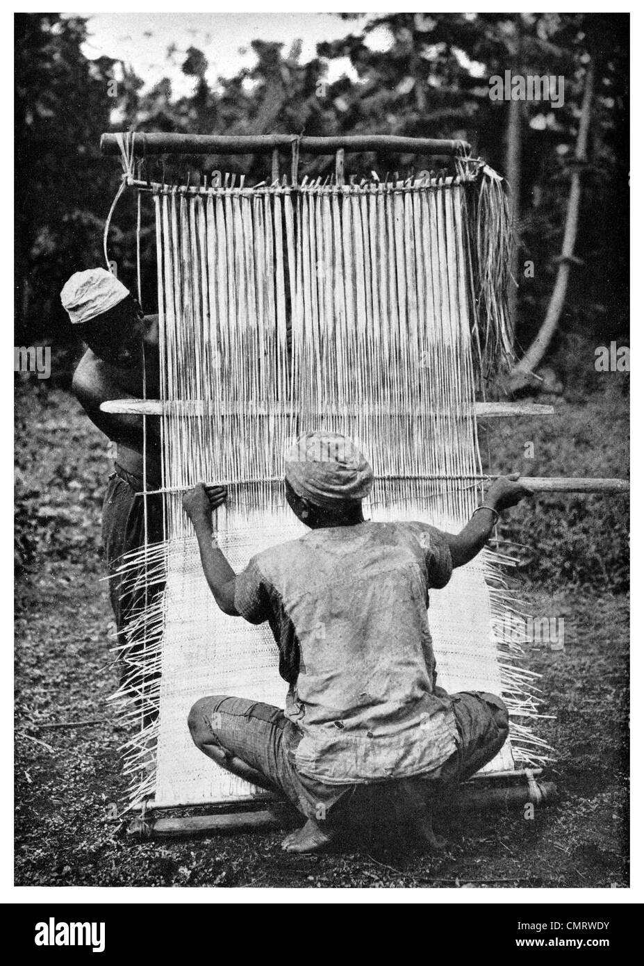1919 Native Republic of  Cameroon Weaver weaving mats  Central Africa - Stock Image