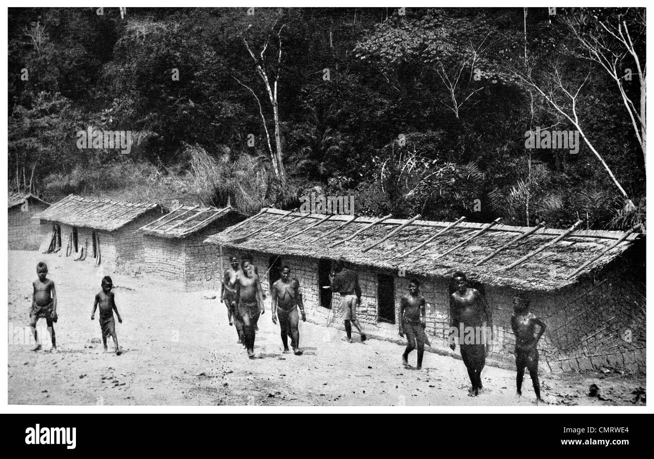 1919 Cameroon Village Native people - Stock Image