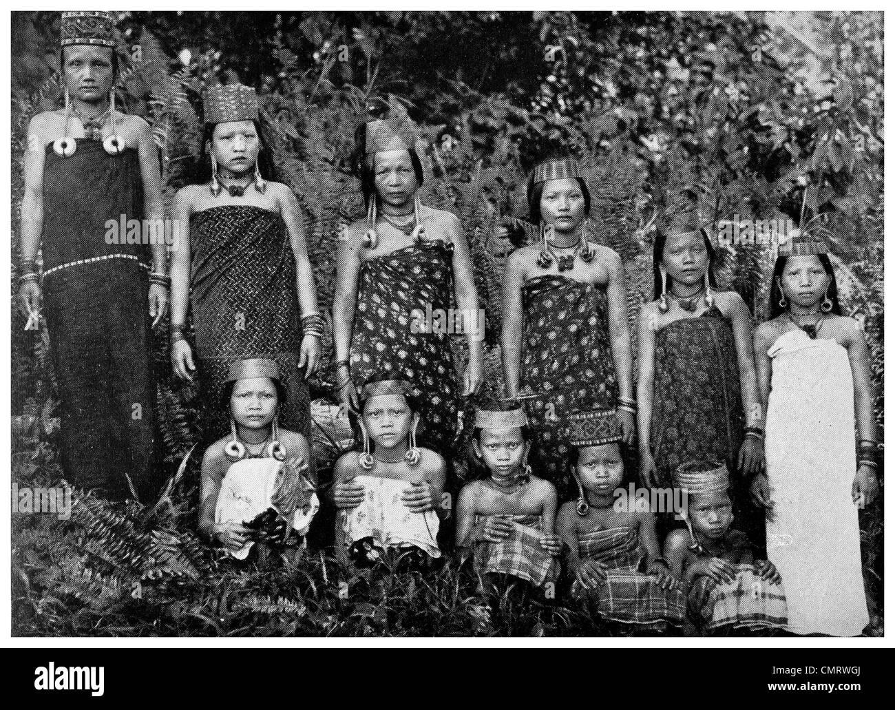 1919 Sarawak children  dyak  Borneo Malaysia women - Stock Image