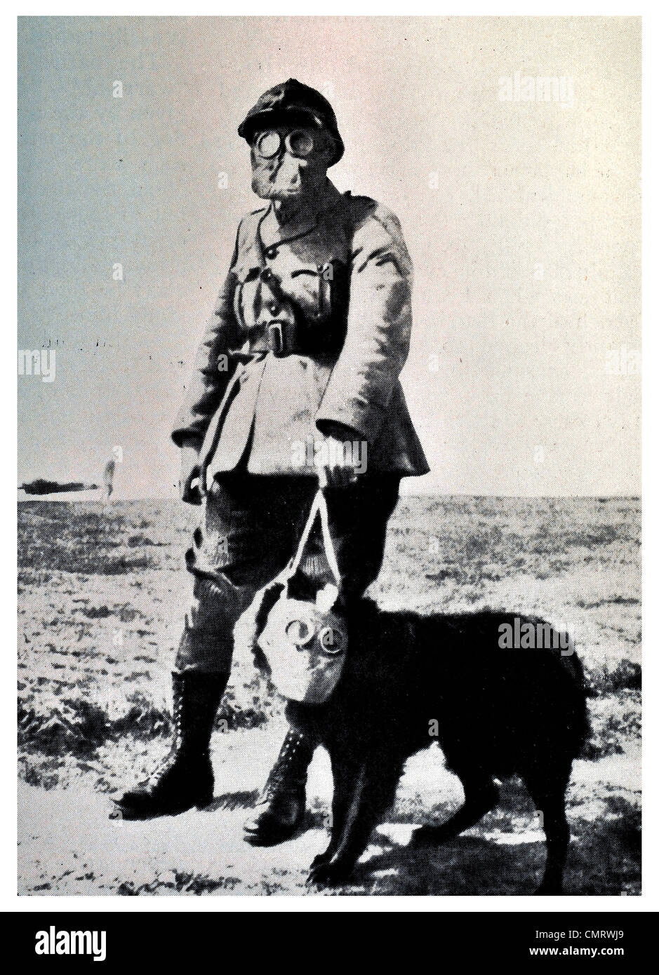 1919 Dog and soldier mask  poison Gas - Stock Image