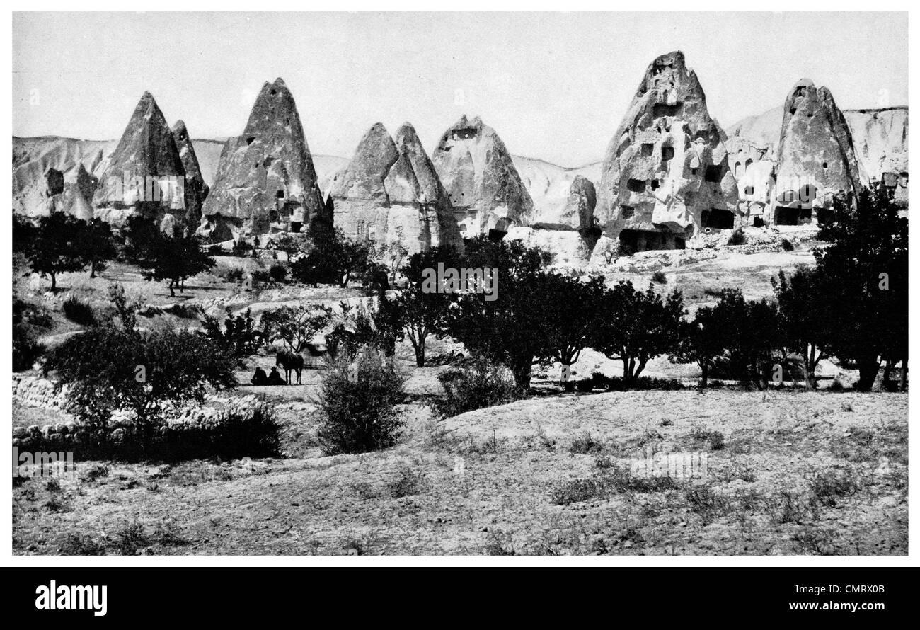 1919 Urgup Burgut Kalesi Nevşehir Province Central 1919 Urgup Burgut Kalesi Nevşehir Province Central Anatolia Turkey. - Stock Image
