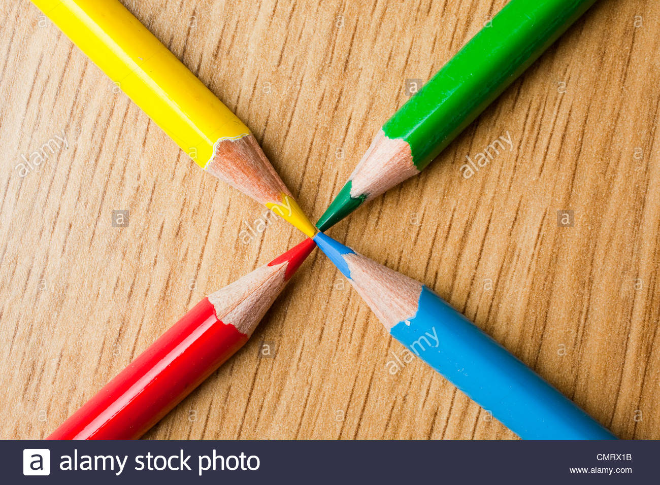 Four colored pencils - Stock Image