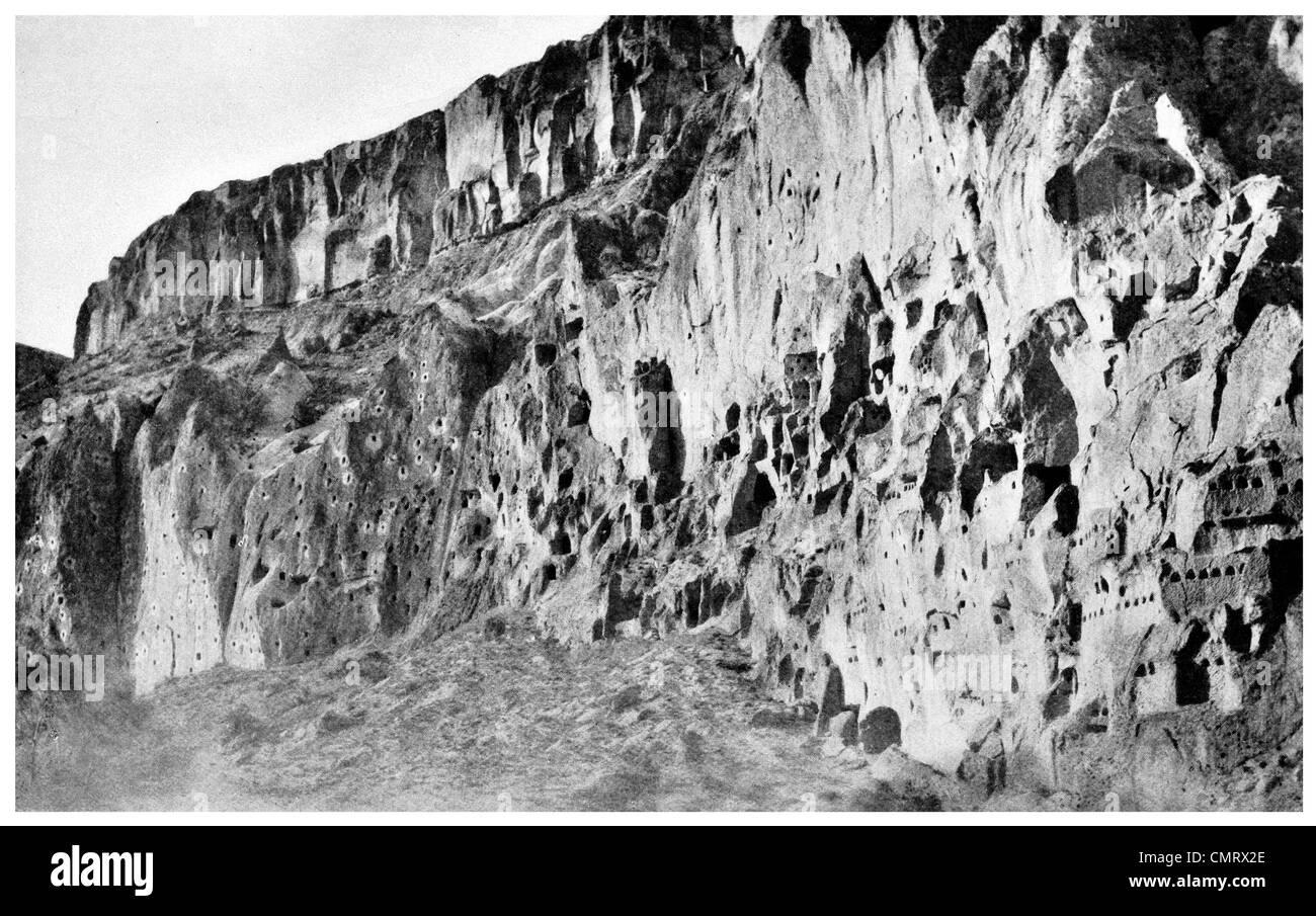 1919 Ürgüp Burgut Kalesi Nevşehir Province Central Anatolia Turkey. Cappadocia cave - Stock Image