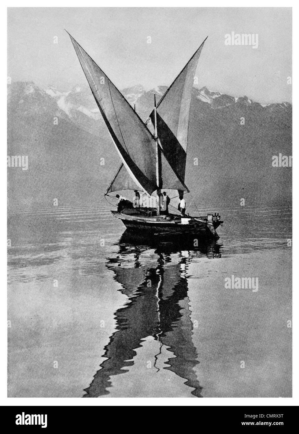1919 Swiss lateen sail Butterfly boat Lake Geneva Switzerland - Stock Image