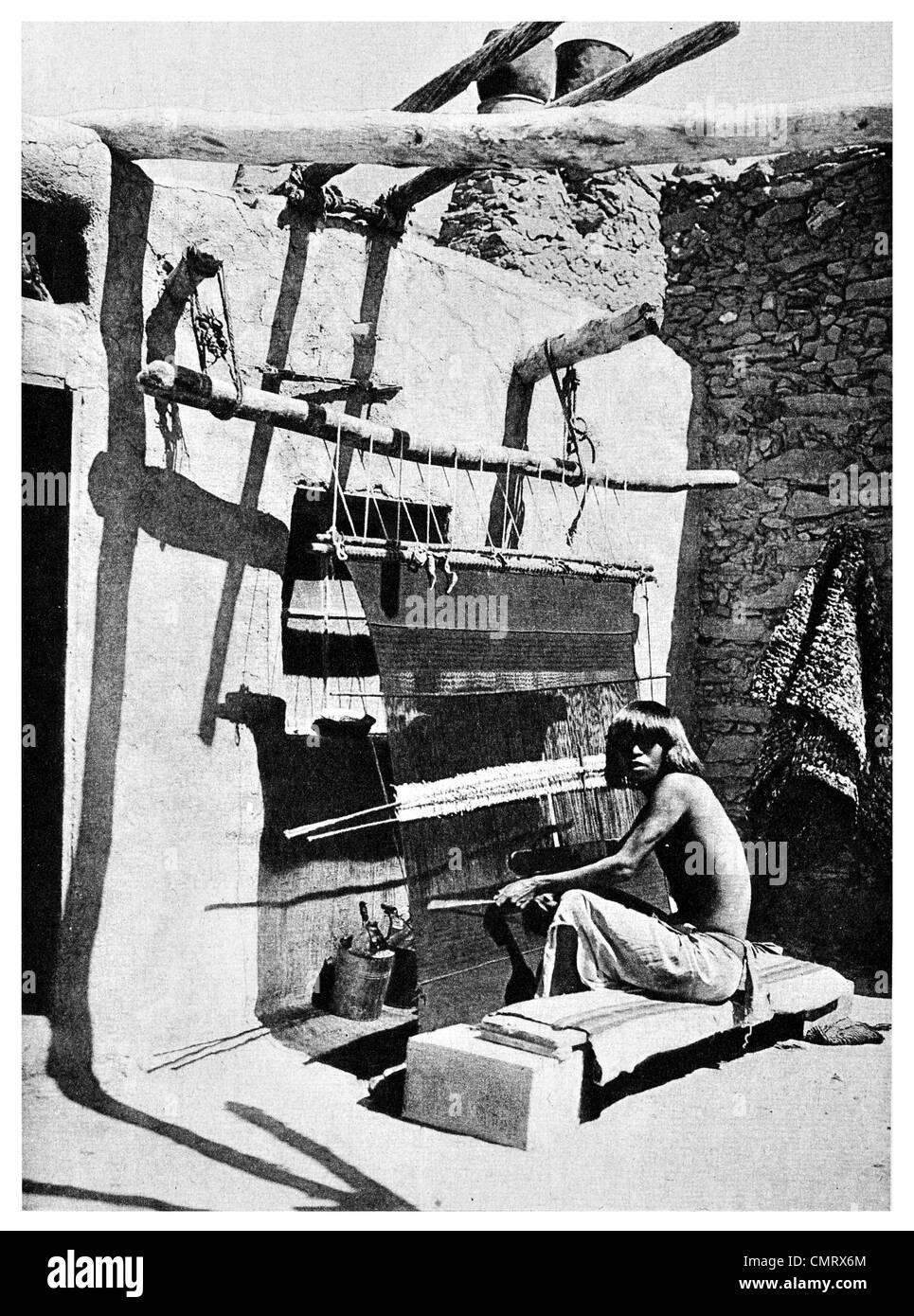1919 weaving Navajo Blanket Southwest United States - Stock Image
