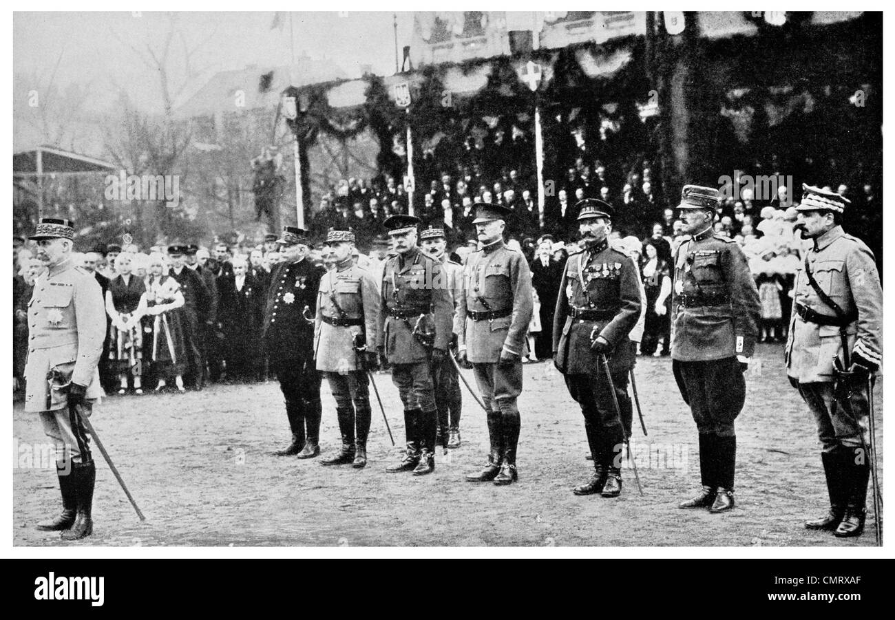 1919 Allied generals honoring General Petain at Metz President Poincare Baton of Marshal - Stock Image