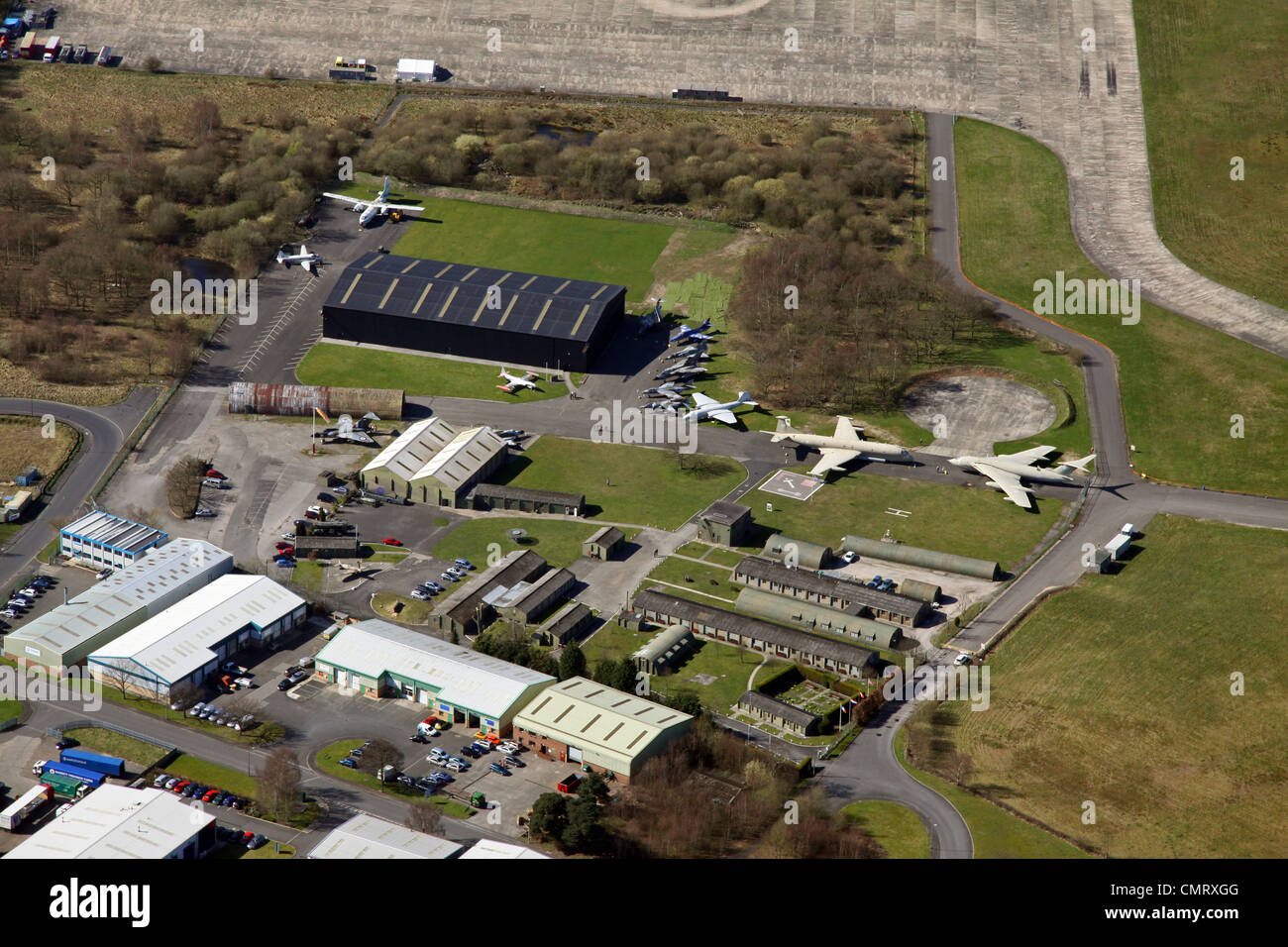 aerial view of Yorkshire Air Museum at Elvington Airfield - Stock Image