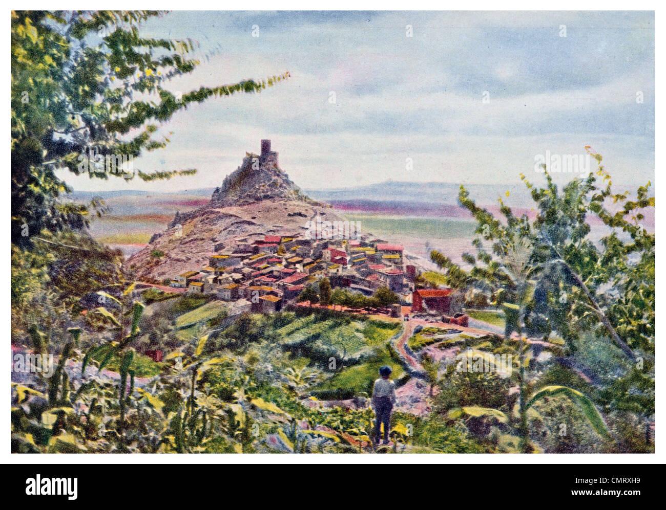 1923 Castle of Burgos in Northern Sardinia - Stock Image