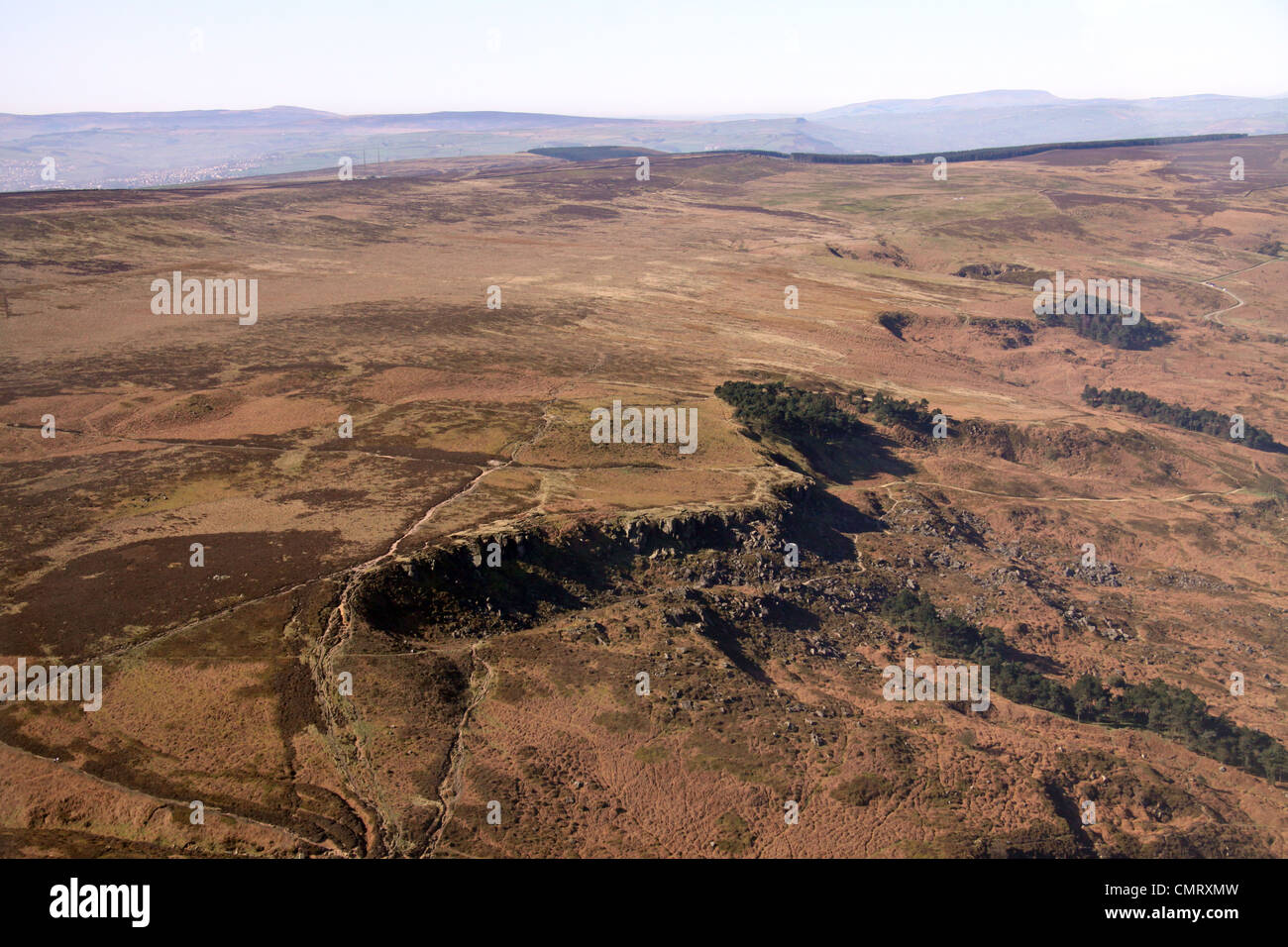 Aerial view of Ilkley Moor in Yorkshire - Stock Image