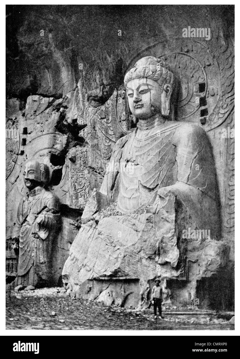 1923 Lung Men stone carving at Honanfu cave temple - Stock Image