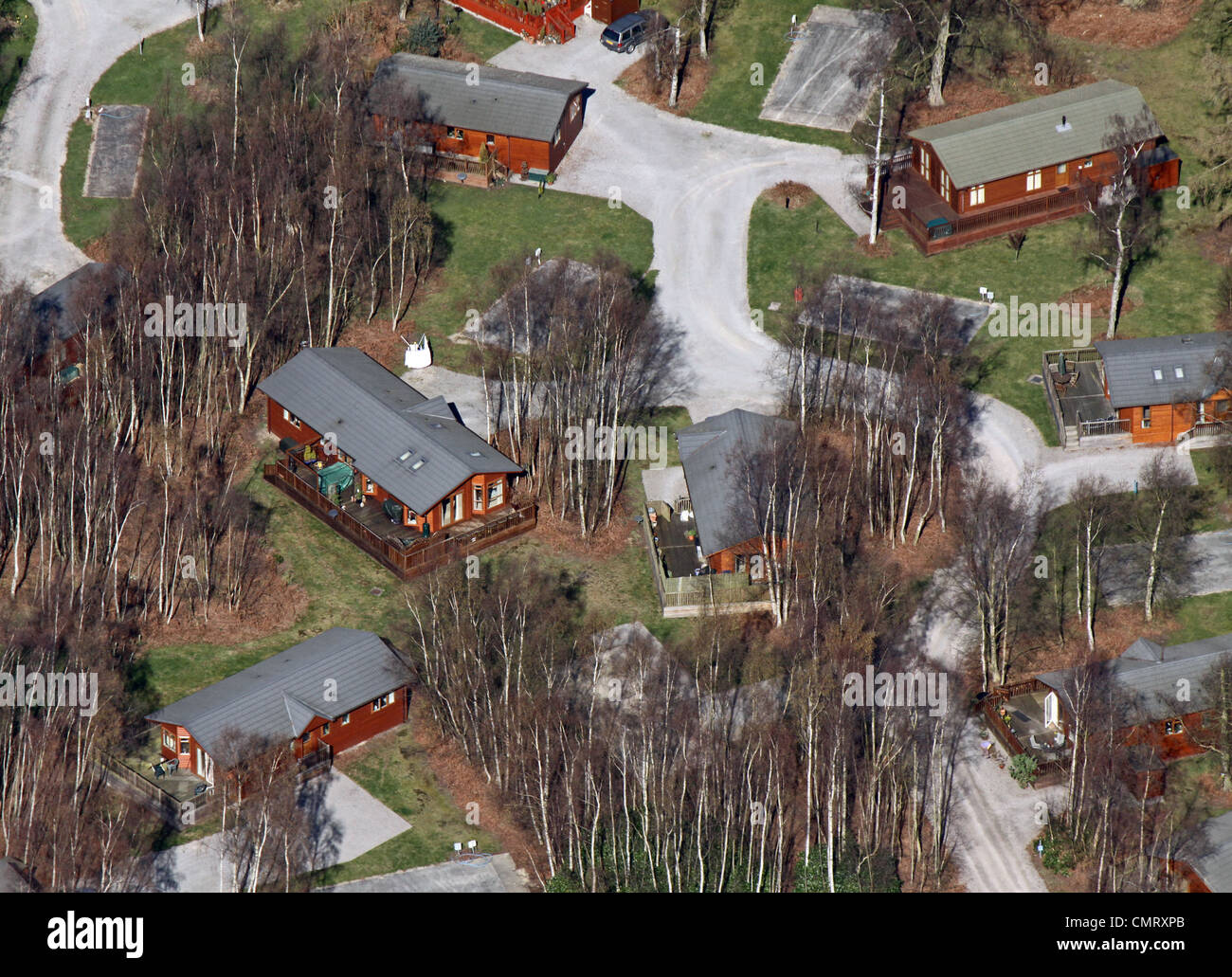 aerial view of log cabins - Stock Image