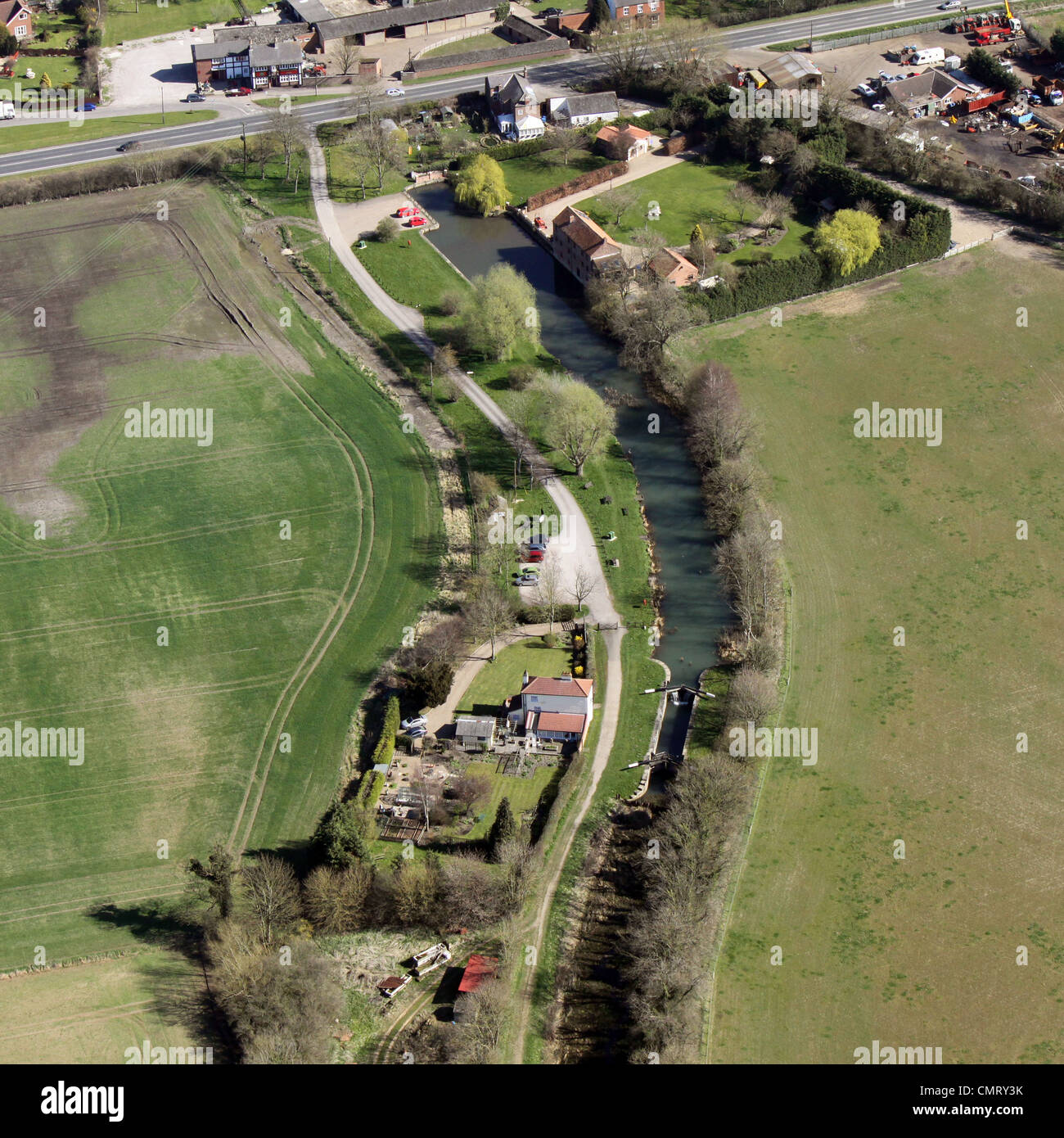 Aerial view of canal lock and lock keepers cottage, and Canal head - Stock Image