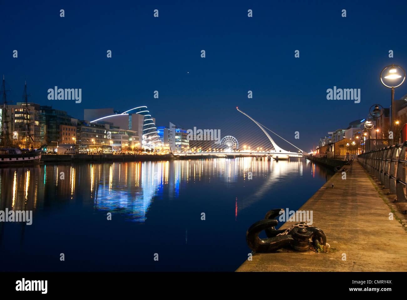 Dublin city docklands seen at night. - Stock Image