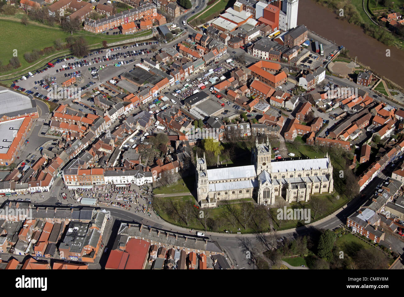 aerial view of Selby Abbey, Selby Cathedral, Selby Minster, Yorkshire - Stock Image
