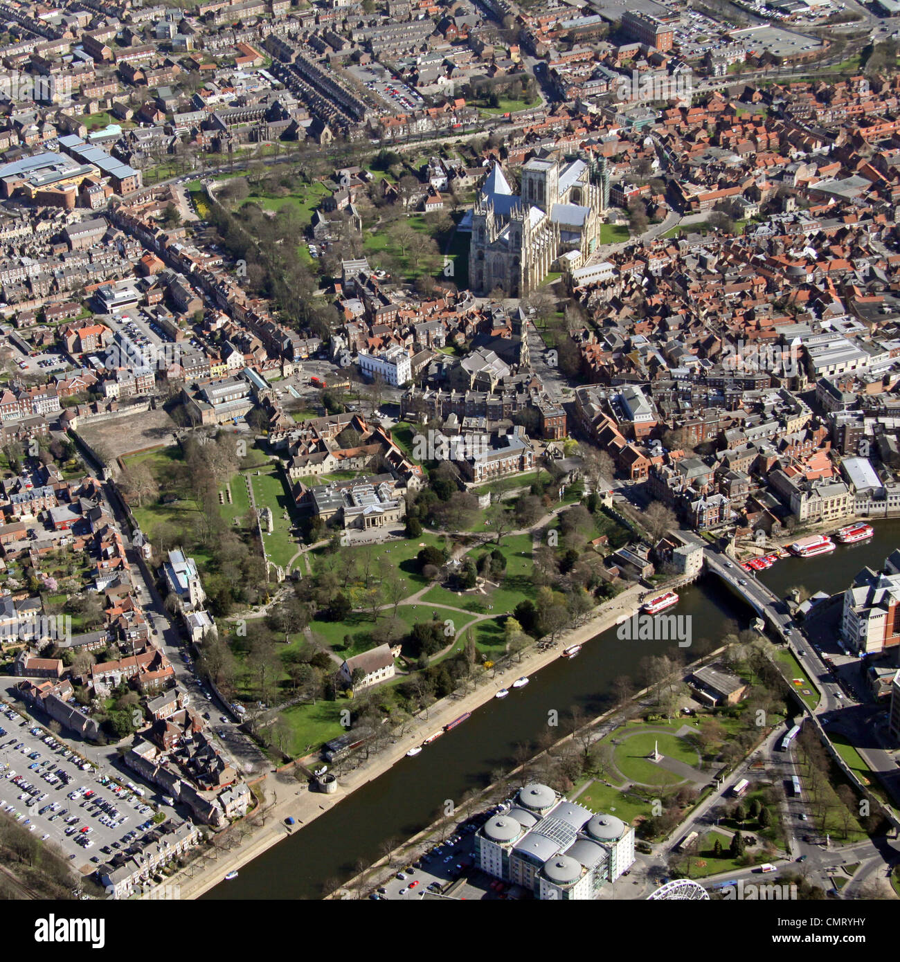 aerial view of The Yorkshire Museum and Minster, York - Stock Image