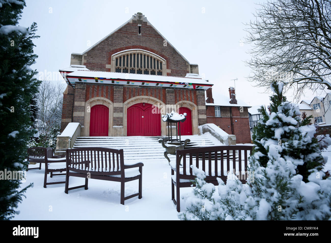 Winter snow at the True Buddha Temple in Willesden Green. - Stock Image