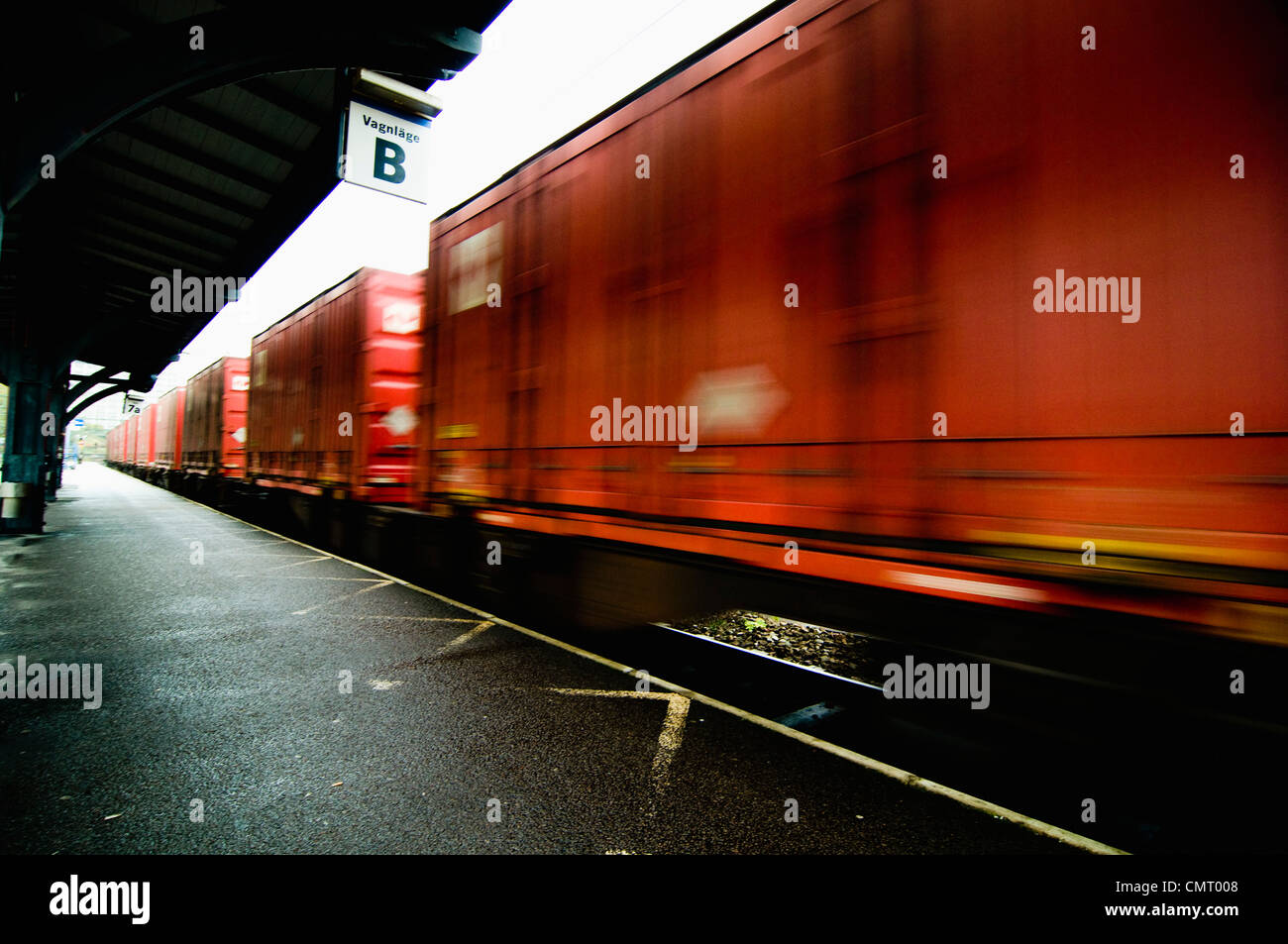 Blurred motion of freight train - Stock Image