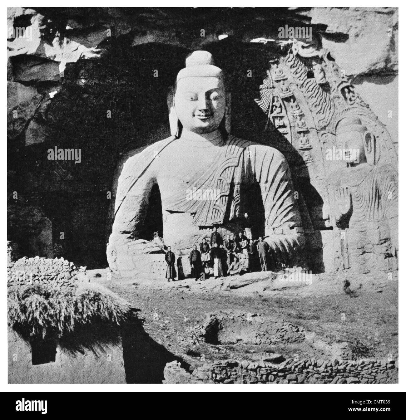 1923 Yungang Grottoes  Stone Buddha temple Yungang caves near Datong Shanxi province China - Stock Image