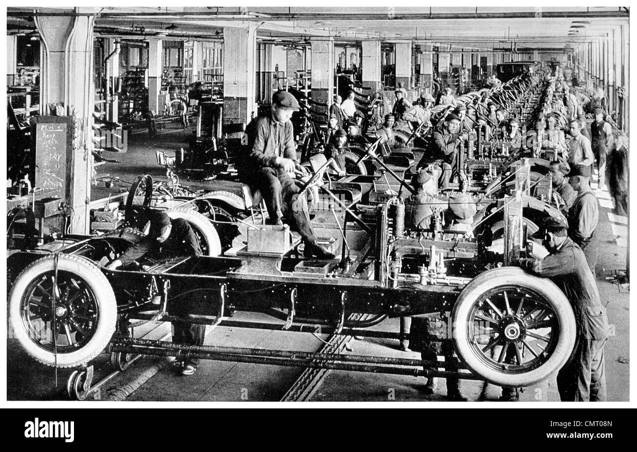 1923 Automobile car factory final assembly line New York - Stock Image