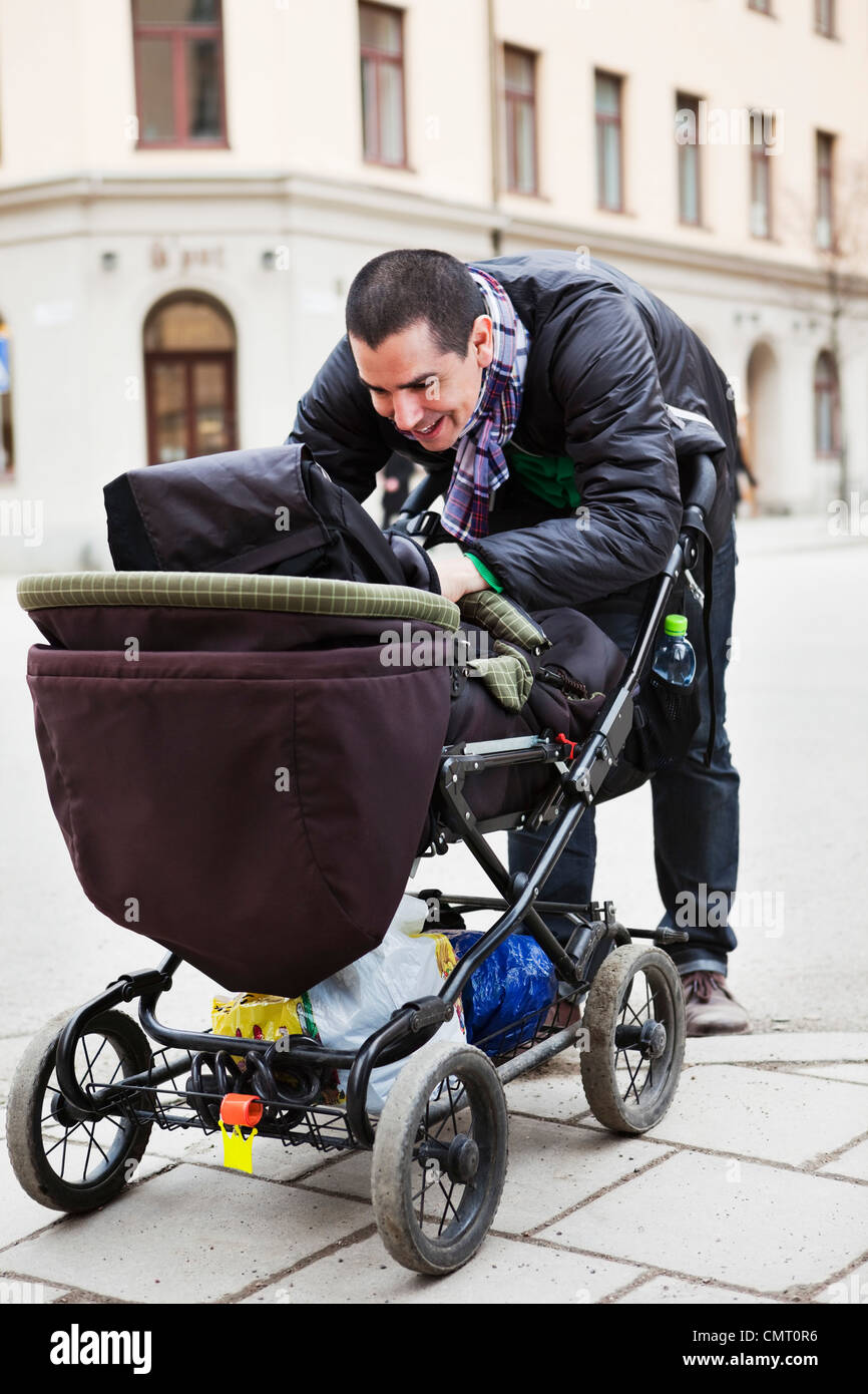 Father playing with baby (0-11 months) - Stock Image