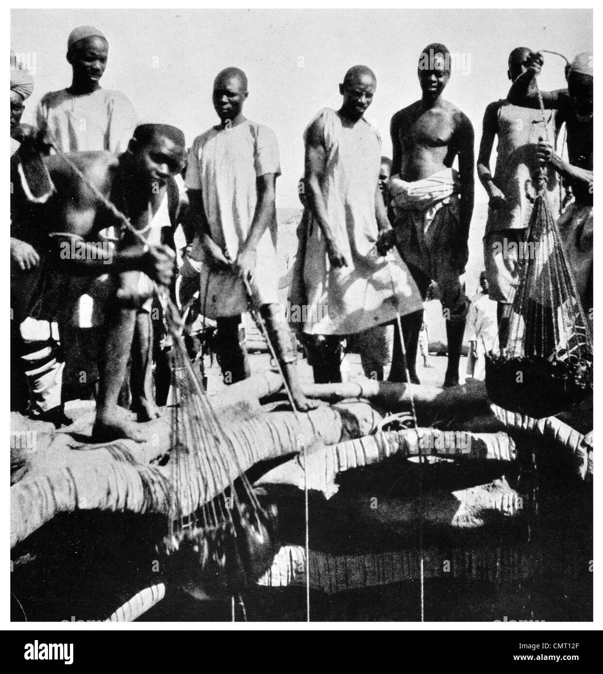 1924 Fresh Water Well Darfur leather bucket Sudan - Stock Image