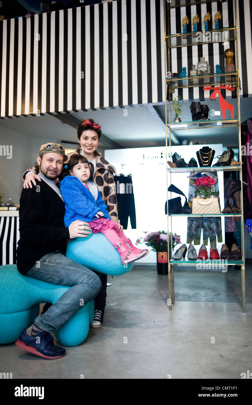 Philip Blau and Helena Blaunstein, clothes designers, in their shop Frau Blau 8 haHashmal Street, Tel Aviv, Israel. - Stock Image