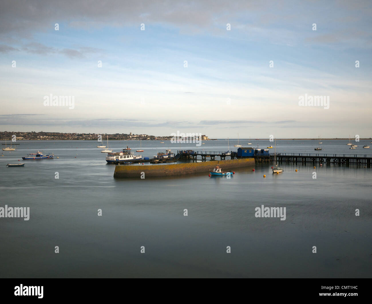 Looking out over the Exe Estuary to Exmouth from Starcross - Stock Image