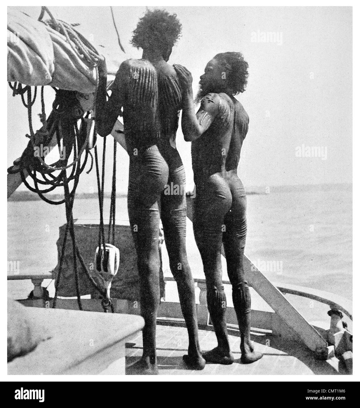 1924 Aboriginal Body Art Tattoo western Australia - Stock Image