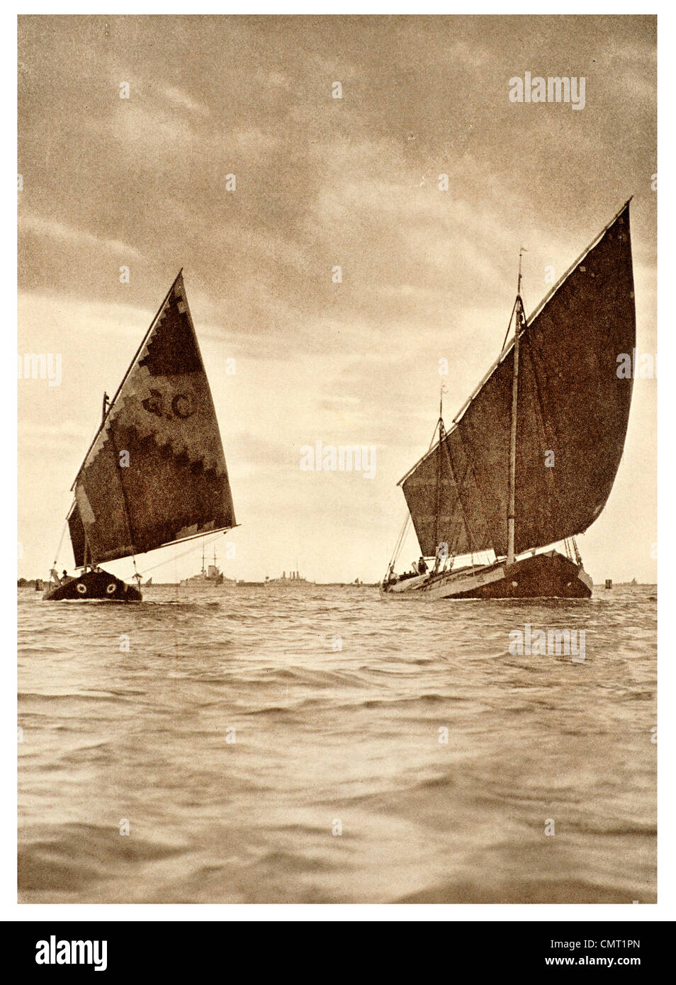 1924 Venetian Trading Boat crossing from Malamocco to Venice  italy - Stock Image