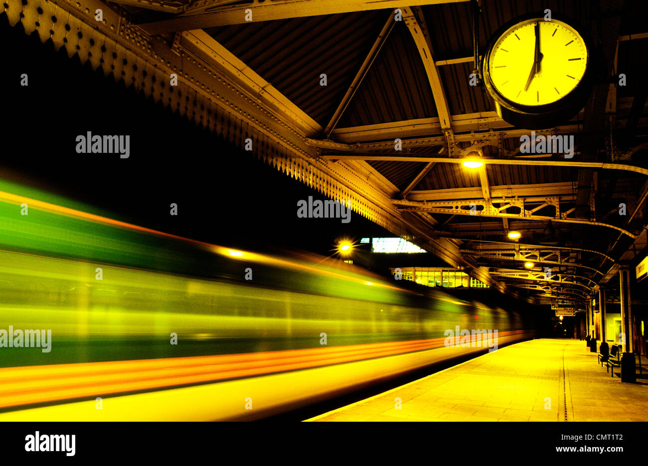 Clock showing time of departing train from Nottingham station England UK - Stock Image