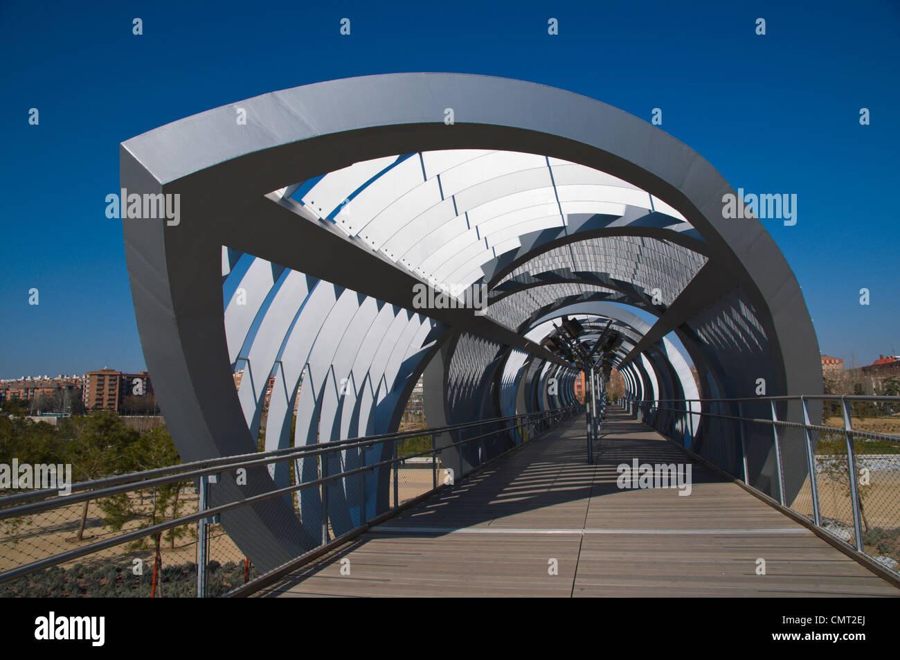 El Puente Arganzuela bridge in Madrid Rio new parkland recreational area around River Manzanares Madrid Spain Europe Stock Photo