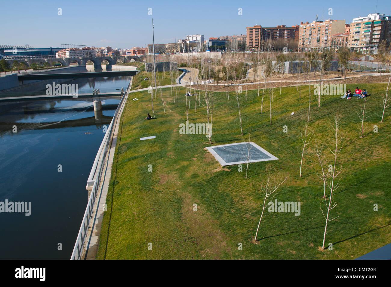 Madrid Rio new parkland recreational area around River Manzanares Madrid Spain Europe - Stock Image