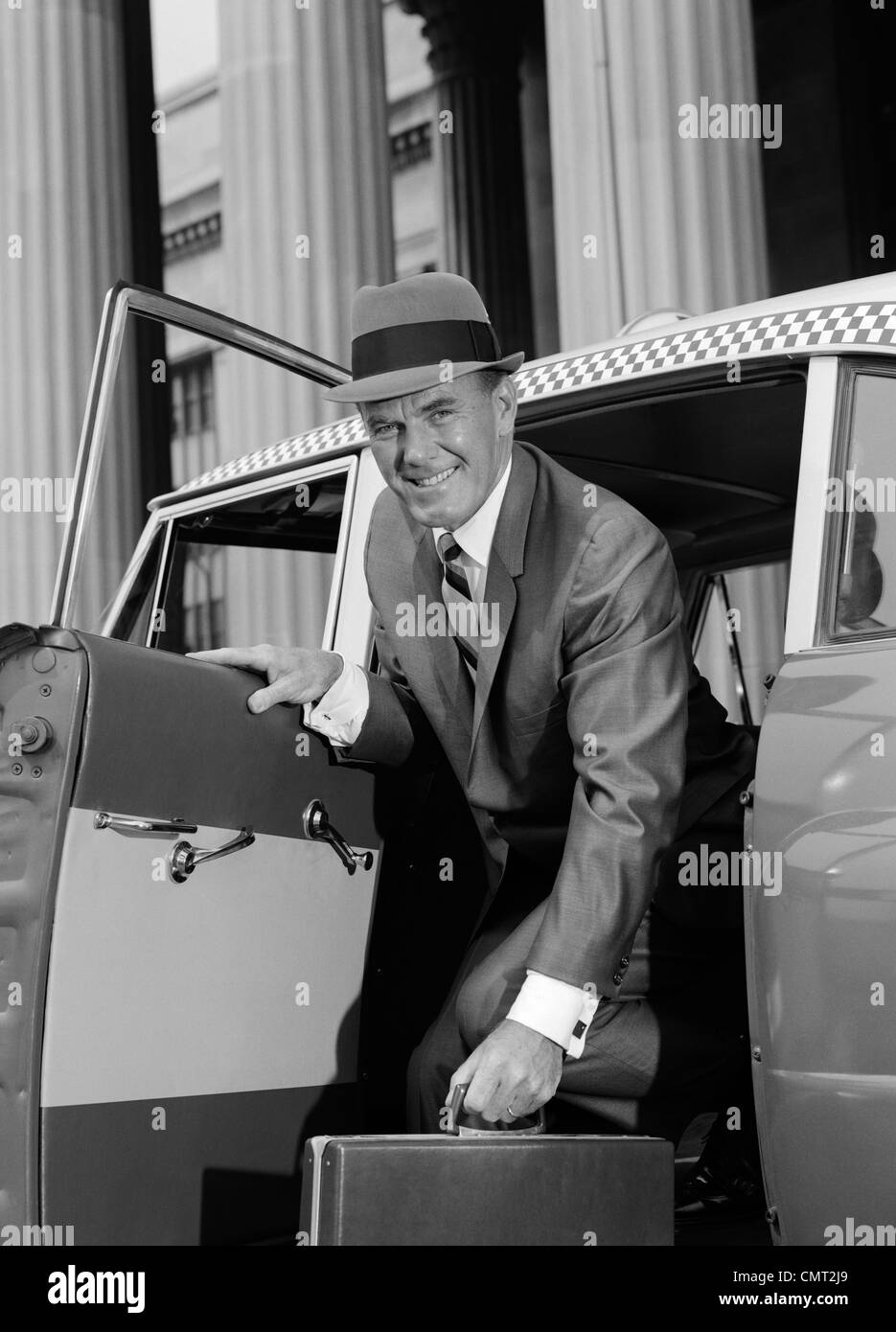 Happy People With Car Black and White Stock Photos & Images
