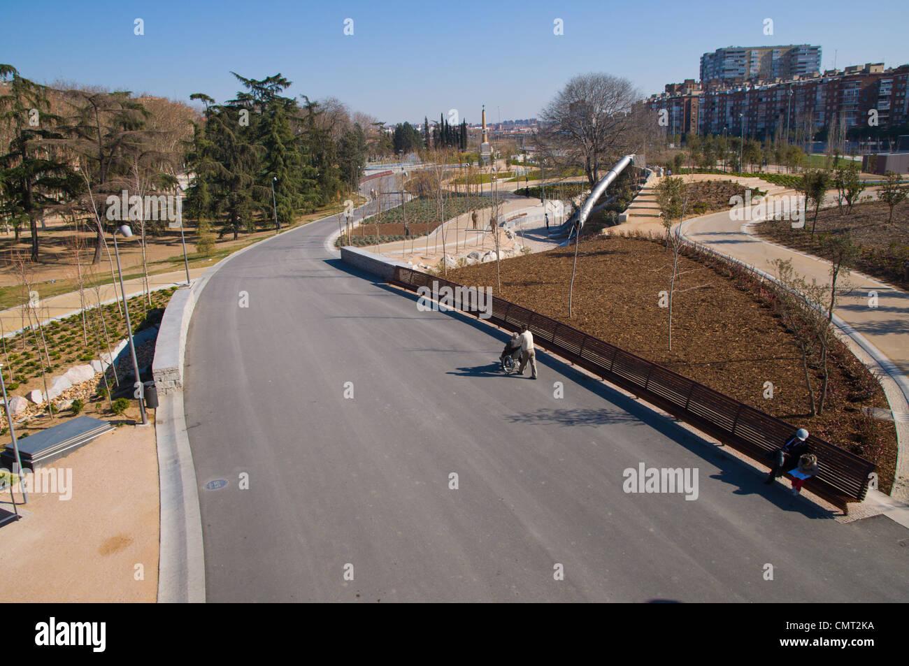 Madrid Rio new parkland recreational area around River Manzanares Madrid Spain Europe Stock Photo