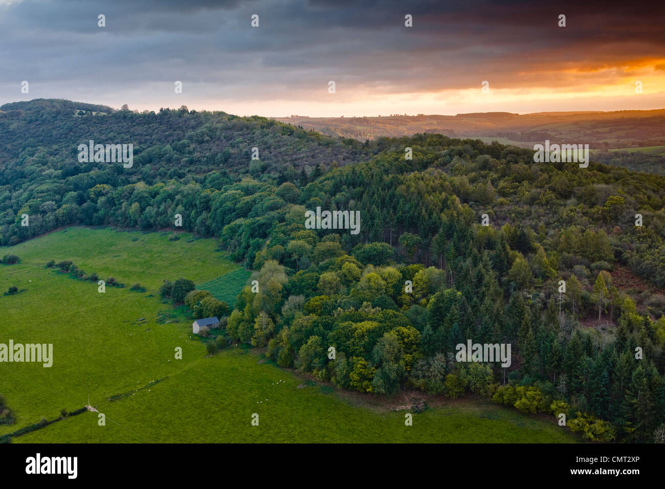 Coppet Hill in Herefordshire. It lies between Symonds Yat. - Stock Image