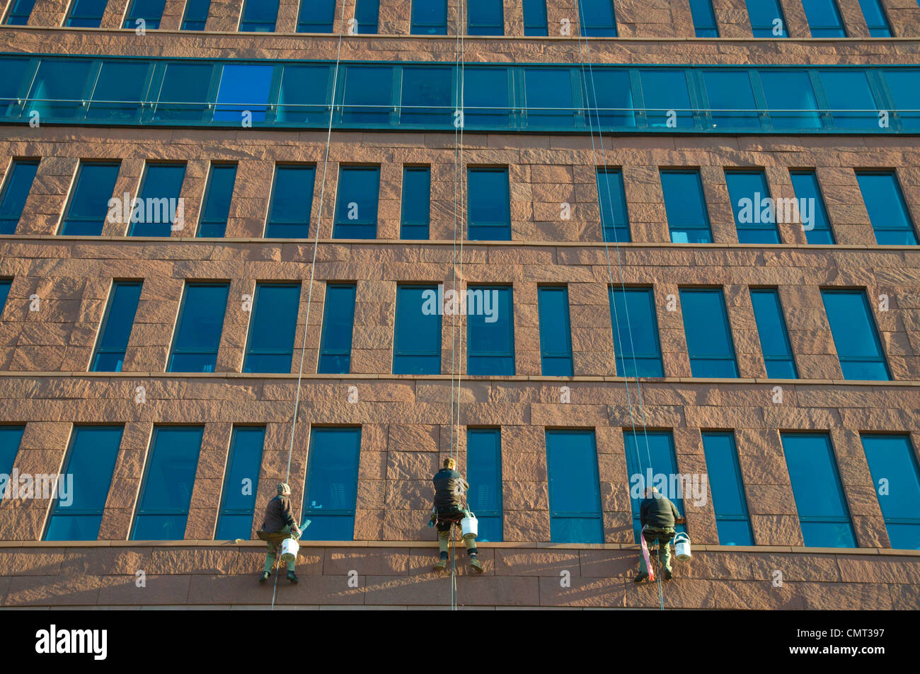 Window washers Danube House office and business centre Karlin district Prague Czech Republic Europe - Stock Image