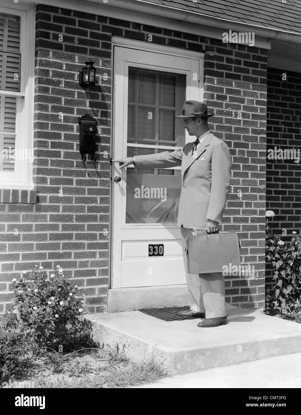 1950s DOOR-TO-DOOR SALESMAN MAN RINGING DOORBELL AT SUBURBAN HOUSE FRONT DOOR OUTDOOR & 1950s DOOR-TO-DOOR SALESMAN MAN RINGING DOORBELL AT SUBURBAN HOUSE ...