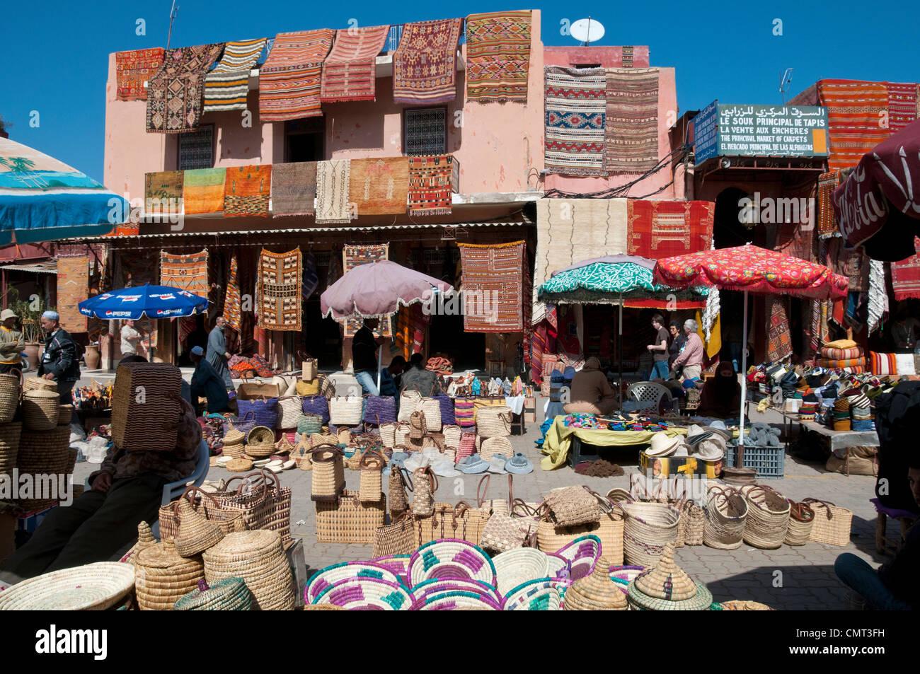Marrakech - Market souk at Rahba Qedima in Medina district, Marrakech, Morocco - Stock Image