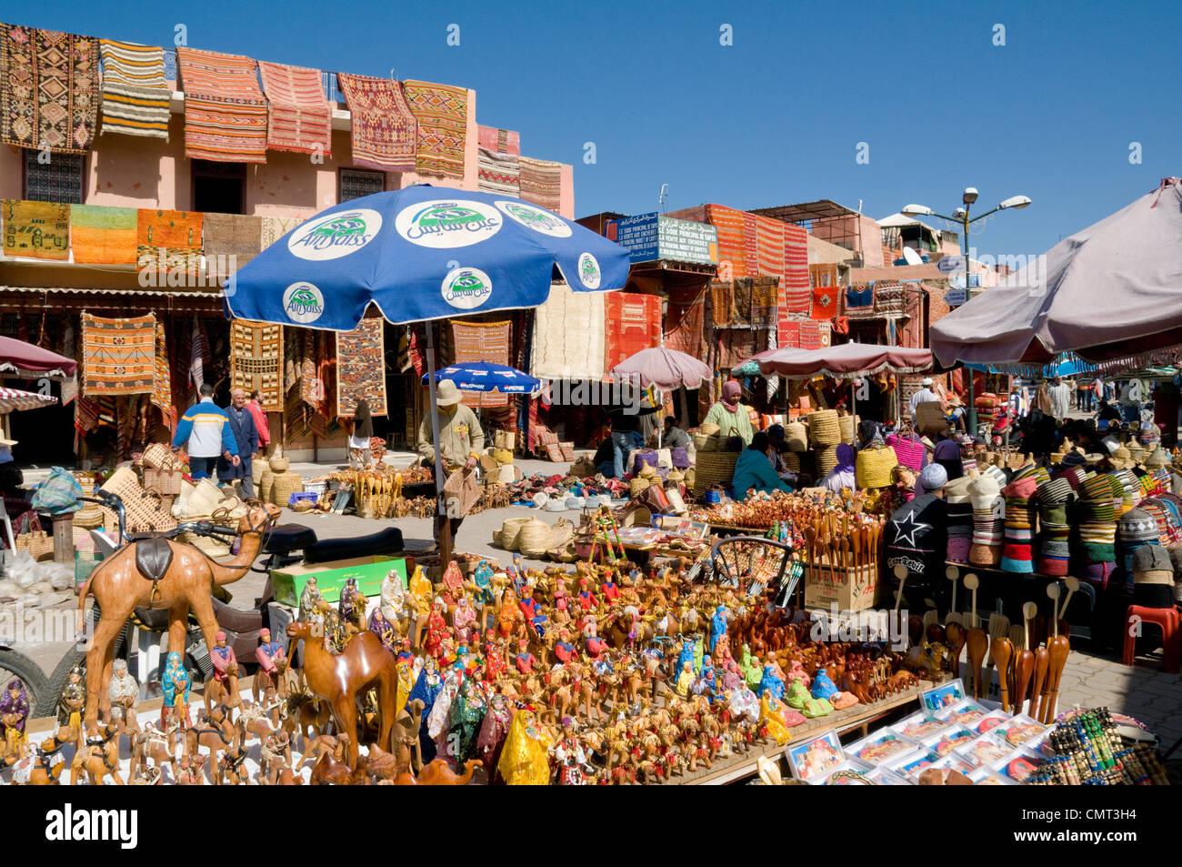 Morocco, Marrakech  - Market souk at Rahba Qedima in Medina district, Marrakech, Morocco - Stock Image
