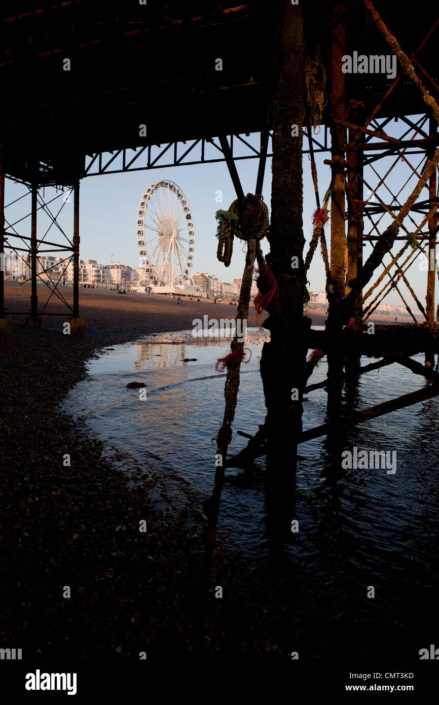 Wheel of excellence, Brighton seen through the girders of the pier - Stock Image