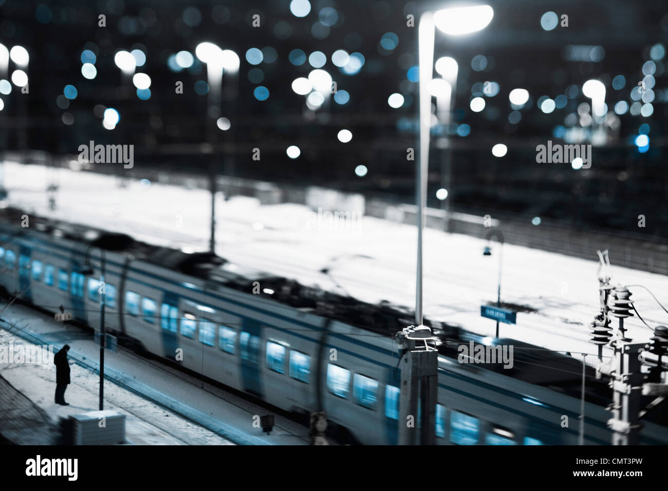 High angle view of train - Stock Image