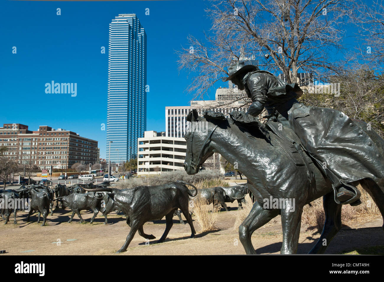 Pioneer Plaza, Dallas, Texas, USA - Cattle Drive sculpture - Stock Image